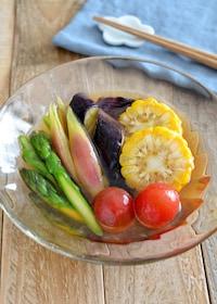 『夏野菜のおひたし。あごだしつゆで簡単!シンプルな和風の副菜。』