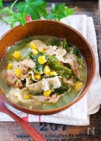 『バターでコクうま♪『豚バラ白菜の味噌バタコーンスープ』』