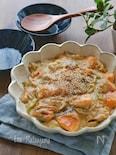 鮭とねぎとえのきの中華風豆乳煮