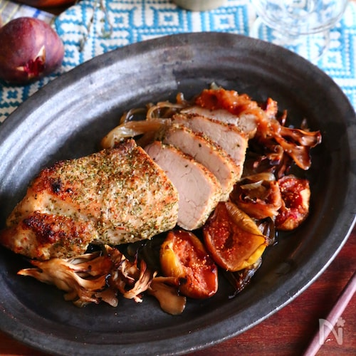 まいたけといちじくと豚肉のオーブン焼き