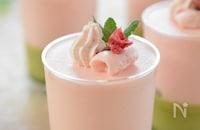 春が香る♪抹茶ゼリーと桜のムース♡