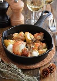 『焼くだけ簡単!チキンと野菜のオーブン焼き。パーティーに♪』