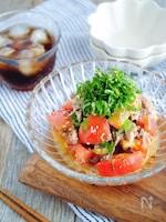 【5分で出来るスピード副菜】トマトとサバ缶の中華和え