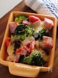 バター餅のベーコン温野菜グリル。