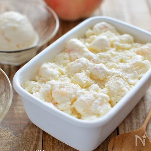 桃ヨーグルトアイス。混ぜて冷凍するだけの簡単スイーツ!