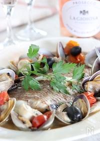 『休日やホームパーティに!真鯛のフィレで簡単アクアパッツァ』