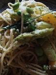 グリーンアスパラと野菜いっぱいパスタ