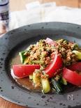 スタミナ満点「きゅうりとトマトの万能ニラだれサラダ」