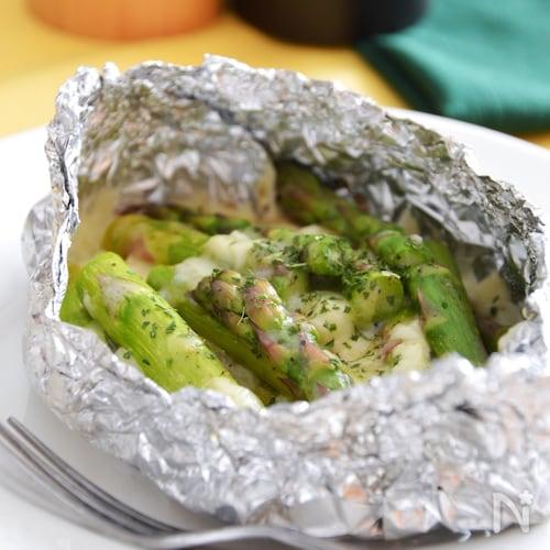 アスパラとチーズのホイル焼き。フライパンで簡単♪旬の副菜。
