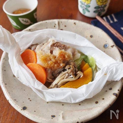 電子レンジで!豚肉と彩り野菜の包み焼き