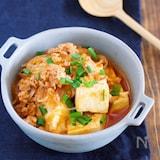 鍋に入れて煮るだけ5分♪『豆腐と春雨のチゲ風そぼろ煮』
