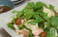 鶏ささみと豆腐のパクチーサラダ