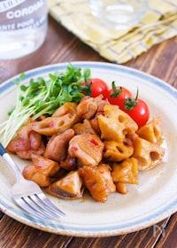 『10分放置♪鶏肉とレンコンの甘辛蒸し【#作り置き#お弁当】』