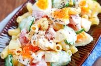 【トマトときゅうりの卵マカロ二サラダ】やみつき濃厚チーズ♬︎