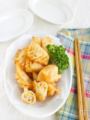【お弁当にも】とろ~りチーズ入り!ツナマヨコーンの揚げ餃子