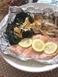 トースターで簡単♡生鮭ときのこの味噌マヨホイル焼き