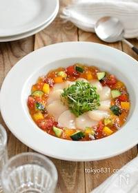 『ホタテと夏野菜のジュレ。夏の冷菜。パーティーやおもてなしに♪』