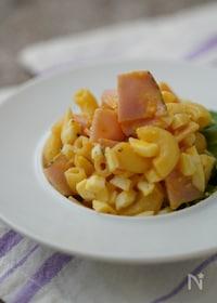 『ゆで卵とだし酢でマヨネーズ風!ハムと卵のパスタサラダ』