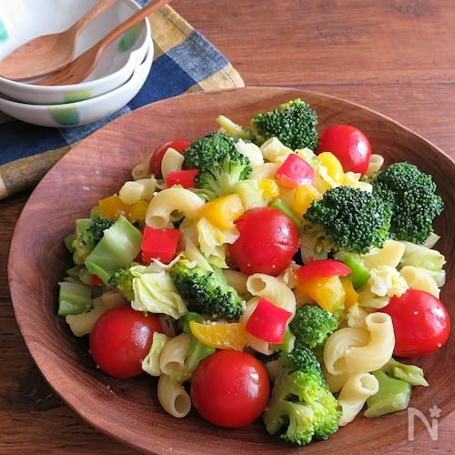 栄養たっぷり◎彩りサラダ☆カラフル野菜とマカロニソテー