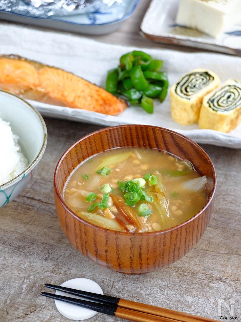 炒めねぎ入り納豆汁