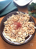 ホイルシートでスルリと簡単♡蓮根の焼き肉風味のカリトロチーズ