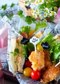 『鶏むね肉の揚げない明太フリッター*めんマヨたまごサンドイッチ』