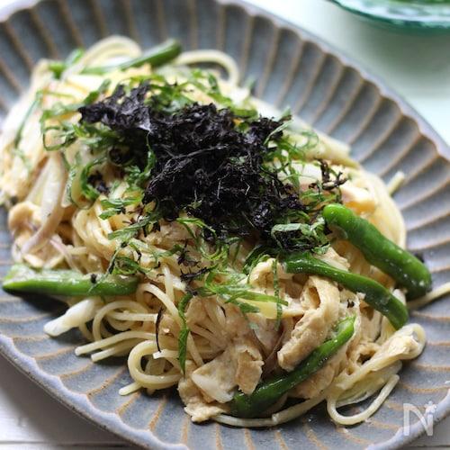香味野菜の和風クリームパスタ。