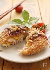 『里芋のチーズコロッケ☆コーンとカニカマ入り♬』