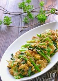 『小松菜と鶏ひき肉とえのきのふんわり卵炒め』