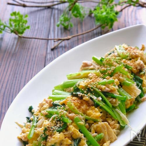 小松菜と鶏ひき肉とえのきのふんわり卵炒め