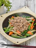 ごぼうと小松菜の味噌風味豚そぼろ和え