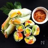 アボカドとマンゴーのサラダ生春巻き