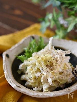 糸寒天と春キャベツの味噌マヨ和え【作り置き】