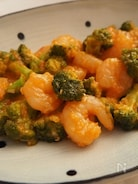 海老とブロッコリーのチリソース煮。
