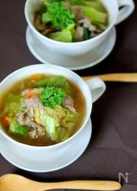 『牛肉とレタスの和風スープ煮』