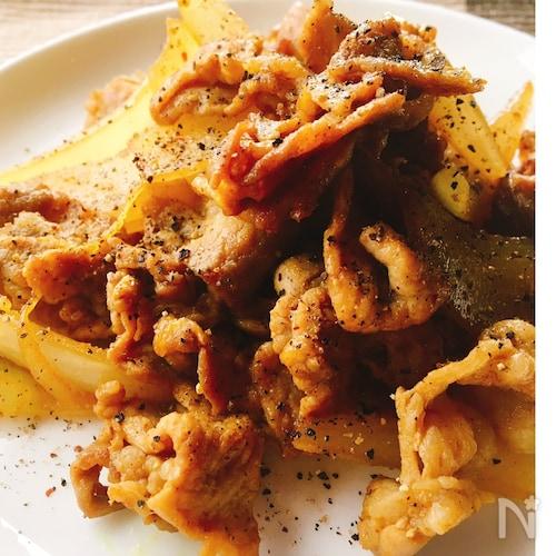 お弁当のおかず✴︎豚コマ肉のカレー味ソテー