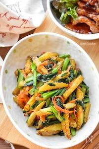 【5分de完成】旨味濃縮♪じゃが芋と小松菜の炒めナムル♪