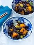 煮込まない!これは時短で簡単♡レンジでかぼちゃとひじきの煮物