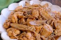 鶏肉とごぼうとえのきのコク旨バター炒め