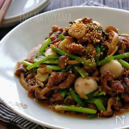 *牛肉と小松菜のにんにく味噌オイスター炒め*