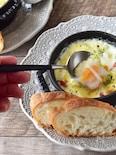 トースター10分♪「とろとろ卵とトマトとホタテのココット」