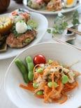 枝豆を楽しむ♪豆腐バーグランチ➀枝豆入り大根サラダ