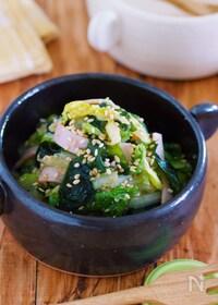『オール1の黄金比率♪『白菜とわかめの香味中華サラダ』』