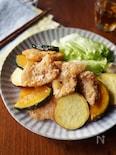 鶏むね肉と秋野菜の竜田揚げ