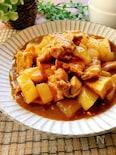 めんつゆでお蕎麦さん風♪鶏肉と大根と厚揚げのカレー煮