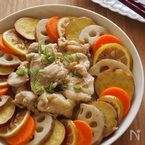 電子レンジで♪根菜と味噌鶏のオイル蒸し。