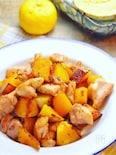 鶏とカボチャのバタポン炒め