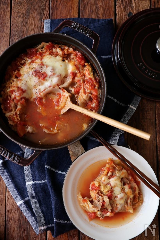 豚と白菜のトマトチーズミルフィーユ鍋