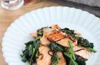 栄養たっぷり◎鮭とほうれんそうの塩昆布バター炒め