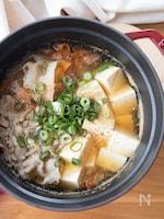 『3分煮るだけ!ひらひら根菜と豚肉と豆腐のごま生姜鍋』#時短